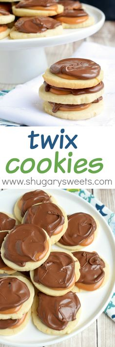 Twix Cookies: flaky, buttery shortbread cookies topped with creamy caramel and rich milk chocolate! Twix Cookies: flaky, buttery shortbread cookies topped with creamy caramel and rich milk chocolate! Twix Cookies, Yummy Cookies, Cookies Et Biscuits, Yummy Treats, Sweet Treats, Shortbread Cookies, Twix Cupcakes, Carmel Cookies, Milk Cookies