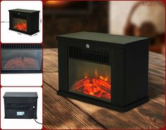 Freestanding Electric Fireplace Heater Wood Burning Effect Thermostat Stove New