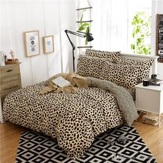 Simple Fashion Sexy Leopard Print Ab Edition Cotton Denim Linen Quilt Bedding 1.8m / 2.0m Gray Twin Comforter Duvet Covers Bedding From Waterflower, $73.48| Dhgate.Com