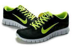 the latest 89182 69af4 Nike Free Run +3 Black Green Shoe Black Womens Sneakers