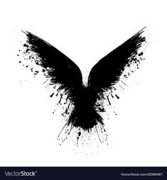 Black grunge bird silhouette with ink splash isolated on white background Raven Wings, Raven Bird, Raven Feather, Bird Silhouette Tattoos, Black Silhouette, Black Crow Tattoos, Black And Grey Tattoos, Body Art Tattoos, Sleeve Tattoos