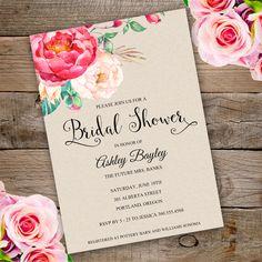 Rose Bridal shower Invitation Template