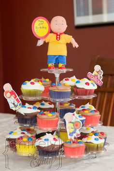 Caillou bday primary colors cupcakes Vs 3rd bday getting ready
