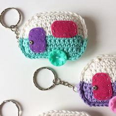 **This is a digital download for a pdf pattern, not the finished item.**  This is a pdf pattern to make a cute caravan keyring. A fun design makes a great gift for caravan lovers. The pattern is written in UK terms. Made with 4ply cotton yarn each caravan is approximately 7 cm wide by 5 cm tall. The little caravans are made to my own design and is also available to order from my shop. An basic knowledge of crochet is required. Download and enjoy creating.