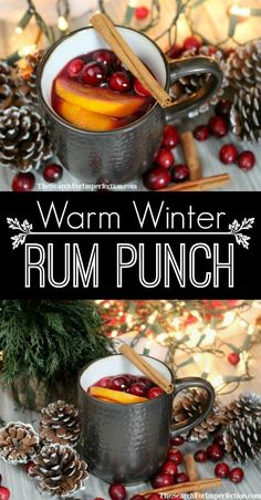 Warm Winter (Local) Rum Punch - The Perfect Holiday Cocktail.- Warm Winter (Local) Rum Punch – The Perfect Holiday Cocktail or Mocktail This warm winter rum punch will warm up any belly on a cold winter day. Winter Cocktails, Christmas Cocktails, Holiday Cocktails, Alcoholic Drinks For Winter, Hot Drinks With Alcohol, Winter Sangria, Fun Drinks, Yummy Drinks, Spiced Rum Drinks