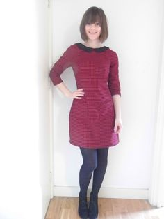 Amelia's pink houndstooth Francoise dress