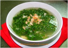 Watercress Soup with Grinded Prawn Recipe (Canh Cải Xoong Tôm Tươi)