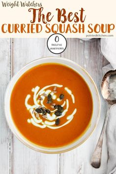 This warming Curried Butternut Squash Soup is zero SmartPoints on Weight Watchers Freestyle, Blue & Purple plans. It is 1 SmartPoint on myWW Green plan. A perfect, filling WW soup recipe. Weight Watchers Pasta, Weight Watchers Vegetarian, Weight Watchers Desserts, Ww Recipes, Crockpot Recipes, Soup Recipes, Healthy Recipes, Skinny Recipes, Healthy Soups