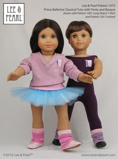 """Our American Girl doll and custom boy doll are ready for partnering class. He's wearing the unitard from Lee & Pearl Pattern 1051, she's wearing a T-shirt from Pattern 1001 and the perfect practice tutu, made using Lee & Pearl Pattern 1073: Prima Ballerina Strapless Bodice and Classical Tutu for 18"""" Dolls, available in our Etsy store at  https://www.etsy.com/listing/271744290/lp-1073-prima-ballerina-strapless-bodice"""