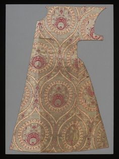 Kaftan 1550-1600 (made) Middle East, Textile; Child's kaftan, two front panels only, silk lampas with metal-wrapped thread, design of ogival trellis, Ottoman Istanbul or Bursa, Turkey, 1550-1600