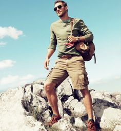 sweater with khaki shorts - outdoor attire