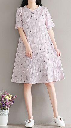 Women loose fit over plus size pocket dress ethnic flower plate buckle cheongsam #Unbranded #dressCheongsam #Casual