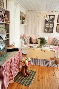 shabby chic pink greens and white florals and style galore