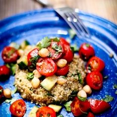 Quinoa Cake with Cherry Tomato Chickpea and Mint Relish! The best quinoa recipe yet! #foodgawker