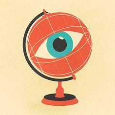 FYI Monday: Stunning Vintage Illustrations by Zach Graham Vintage Globe, Vintage Art, Cultura Pop, Art Globe, Collages, Eye World, Eye Illustration, Realistic Eye Drawing, Eye Art