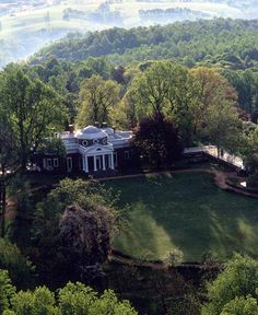 Jefferson's Monticello in Charlottesville, VA.  Aerial View of West Lawn in Summer