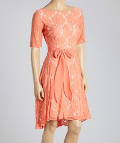 Beautiful Coral Rose Lace Scoop Neck Dress - this would be perfect to wear to a wedding this spring or summer.