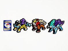 Pokemon Perler Legendary Dogs Raikou/Entei/Suicune by ShowMeYourBits on deviantART