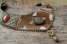 Embroidered Necklace - Beadwork jewelry - Tribal necklace