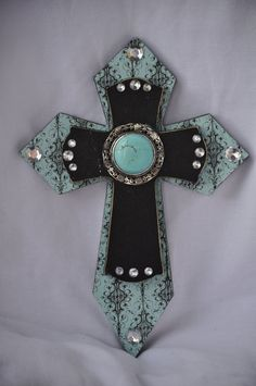 Layered Western Wooden Cross  Turquoise/Black by RaeOfFaith, $19.00
