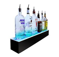 BarConic® LED Liquor Bottle Display Shelf - 1 Step - Black - Multi Colored Lights - Several Lengths Liquor Bottles, Vodka Bottle, Display Shelves, Liquor Shelves, Display Stands, Regal Display, Bottle Display, Small Bars, Different Light