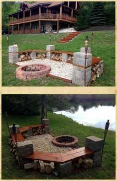 What to put in bottom of fire pit square fire pit insert fire pit insert with bottom tip fire pits fire pit layout fire put at bottom fire pit Fire Pit Area, Diy Fire Pit, Fire Pit Backyard, Backyard Patio, Backyard Landscaping, Landscaping Ideas, Backyard Seating, Backyard Plants, Modern Backyard