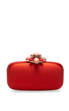 Shop Embellished Satin Clutch by Oscar de la Renta - Moda Operandi
