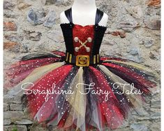 Lined Black,Red & Gold Glitter Pirate Birthday Party Gala Tulle Outfit. Handmade by Seraphina Fairy Tales. Pirate Tutu, Pirate Fairy, Unicorn Dress, Unicorn Costume, Tulle Costumes, Robes Tutu, Girl Pirates, How To Make Tutu, Pirate Birthday