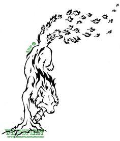 Elemental Leaping Wolf Tattoo by *WildSpiritWolf on deviantART