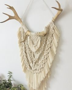 Macrame wall hanging on antlers #macrame