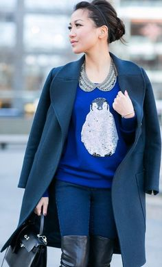 Penguin Lady :: #Sequin #Sweater #Coat by Wendy's Lookbook