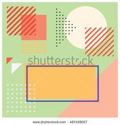 Trendy geometric elements memphis greeting cards design. Retro style texture…