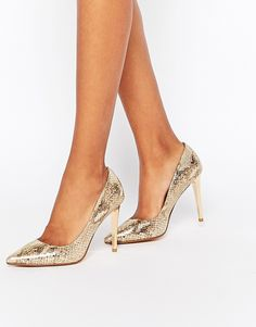 Image 1 of Dune Betsee Gold Metallic Leather Heeled Court Shoes