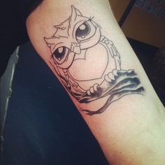 Owl tattoo- I love the eyes and the heart on the belly is perfect for the kids intials I want in my tattoo.