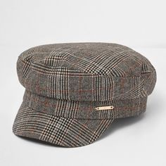 dda63a3c638 River Island Brown check baker boy hat ( 36) ❤ liked on Polyvore featuring  accessories