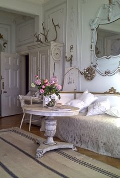 Swedish Interior Design - Stunning Real Antique Gustavian Rococo and Biedermeier Antique Furniture Mirrors and Antique Swedish Mora Clocks