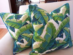 CUSTOM PIPING COLORS Outdoor Tropical Palm Leaf Pillow Cover