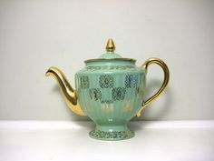 Vintage Hall Teapot, Monterey Los Angeles, Mint Green and Gold, Hollywood Regency 1950s Tea Pot, Light Aqua Blue, Metallic, Elegant Glam