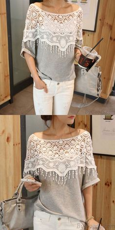 c2103be18ad Sweet Hollow Lace Tassel Bat Sleeve T-shirt only  26.99. Shirts For ...