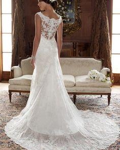 Satin Lace Round Neck Sweep Mermaid Bridal Gown Wedding Dress