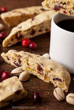 Cranberry Pistachio Biscotti - The perfect holiday biscotti recipe with dried cranberries and pistachios in a sweet vanilla-almond cookie.  Use this biscotti recipe for other flavors too - substituting chocolate and almonds, etc