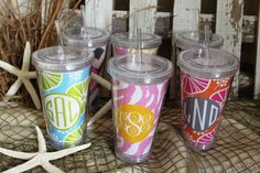 We love these reusable cups for your drinks.  Buy one for everyday use.  Comes in many patterns and can be monogrammed.  $30.00 at Out of the Box
