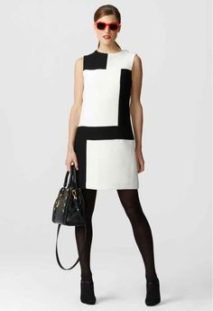 Colorblock White Dress