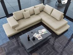 Lamont - Ultra Modern Cream Leather Sectional Sofa - modern - sectional sofas - - by EuroLux Furniture