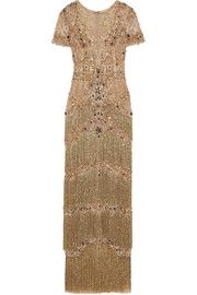 Embellished fringed lace-trimmed tulle gown
