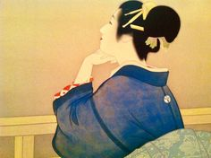 """Uemura  Shoen (上村松園) Waiting for the Moon"""" (Taigetsu 待月,1944) This painting expresses a  woman who leans against a rail, waiting for the moon to appear. Shoen is a well-known  artist of Japanese paintings of beautiful women portraits (Bijin-ga, 美人画).  She uses a unique Japanese painting style that describes space to give deep expression and meaning."""