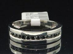 Mens 10K White Gold Round Cut Black Diamond Ring Engagement Wedding Band .50 Ct.