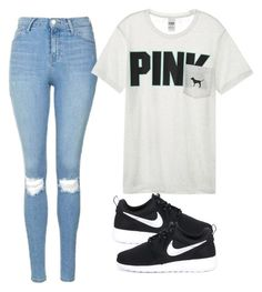 """""""Black dog on a rainy day"""" by melw44 ❤ liked on Polyvore featuring Topshop, Victoria's Secret and NIKE"""