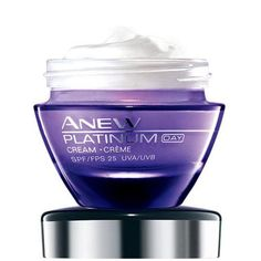 Anew Platinum Day Cream SPF 25. Reshapes the appearance of the neck for a more youthful look and dramatically reduces the look of deep wrinkles. Formulated with patented Paxillium Technology and Radiescent Microspheres that help to immediately counteract dullness and help restore radiant skin. 92% agree it restores the look of youthful color and radiance to skin.