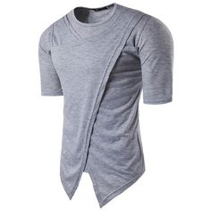 s Summer Hip Hop High Street Irregular Solid Color O-neck Short Sleeve... ($17) ❤ liked on Polyvore featuring men's fashion, men's clothing, men's shirts, men's t-shirts, mens long sleeve summer shirts, mens long sleeve shirts, mens summer shirts, men's regular fit shirts and mens long sleeve collared shirts